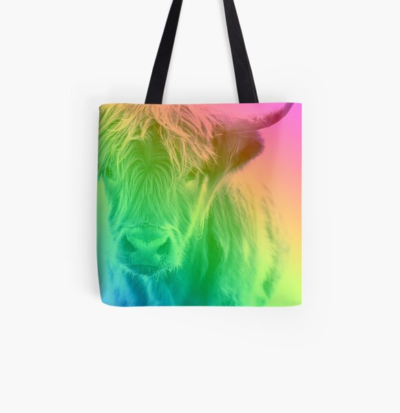 Rainbow Cow All Over Print Tote Bag