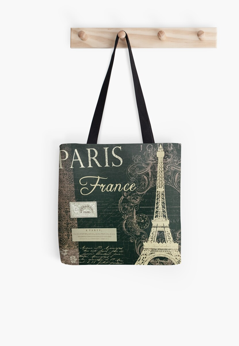 paris france script tote bags by yannik hay redbubble. Black Bedroom Furniture Sets. Home Design Ideas