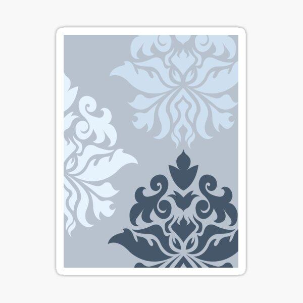 Ornate Damask Art I – Blues (A) Sticker