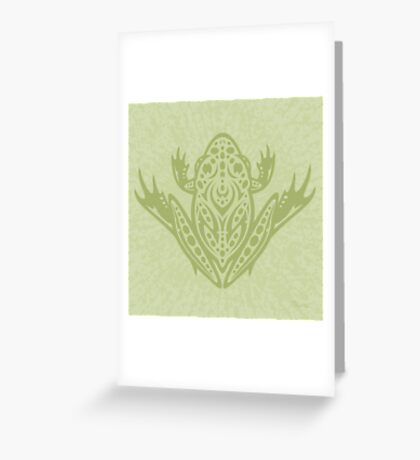 Tribal Leopard Frog - Green Greeting Card
