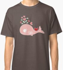 Whimsical Pink Pregnant Mommy Whale Classic T-Shirt
