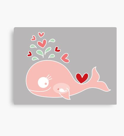 Whimsical Pink Pregnant Mommy Whale Canvas Print