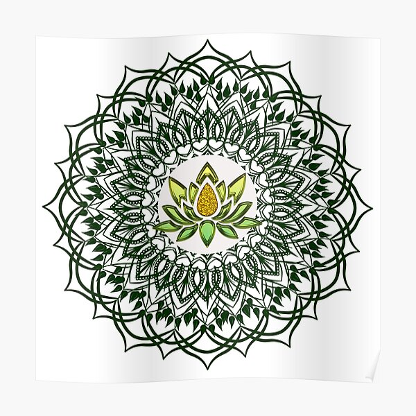 Beautiful Mandala with Lotus flower Poster