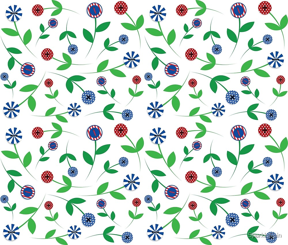 Red & Blue Button Flowers by SparklySpin