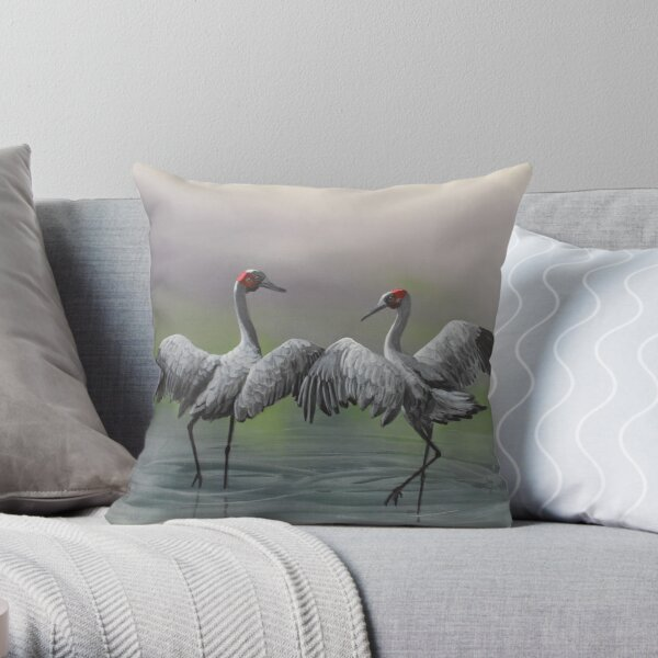 Dance of the Brolgas Throw Pillow