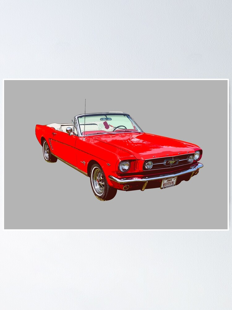 Alternate view of 1965 Red Ford Mustang Convertible Poster