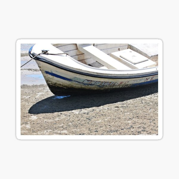 Beached Wooden Boat at Lowtide  Sticker