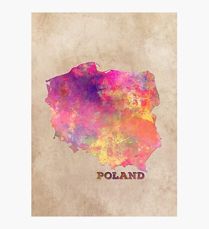 Poland map Photographic Print