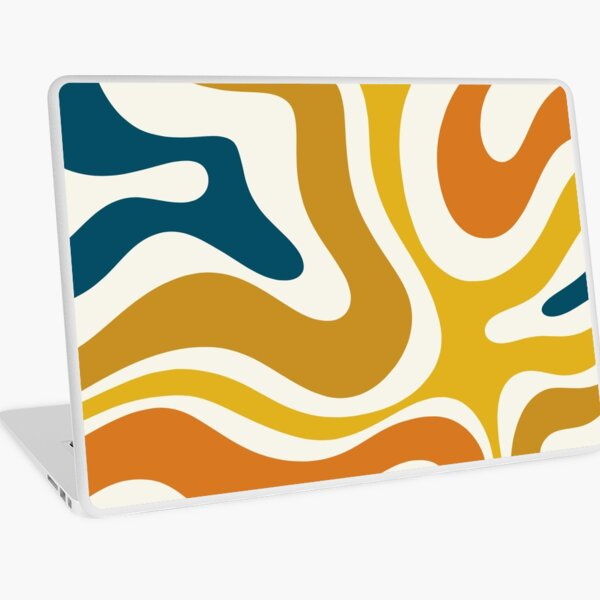 Retro Modern Liquid Swirl Abstract Pattern Square in Mustard, Orange, Ochre, Blue, and Cream Laptop Skin