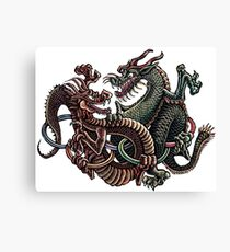 Dragons Fighting in Rings Canvas Print