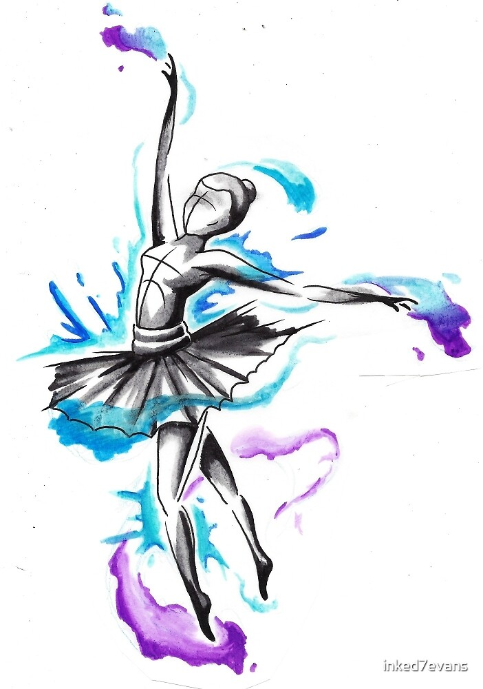 Watercolor ballet dancer 2 by inked7evans