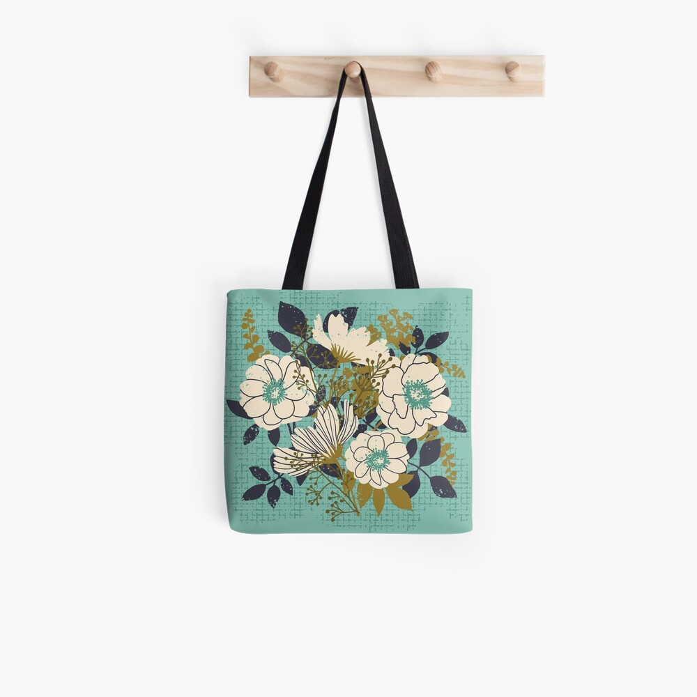 Floral Bouquet ~ on turquoise Tote Bag
