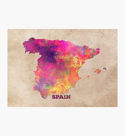 Spain map Photographic Print