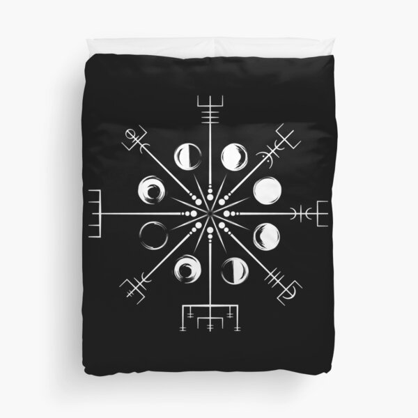 Vegvisir Moon Norse Pagan Viking Compass Knotwork  Duvet Cover