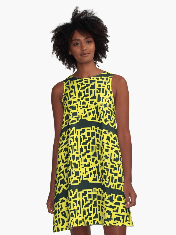 Black and Yellow  A-Line Dress Front