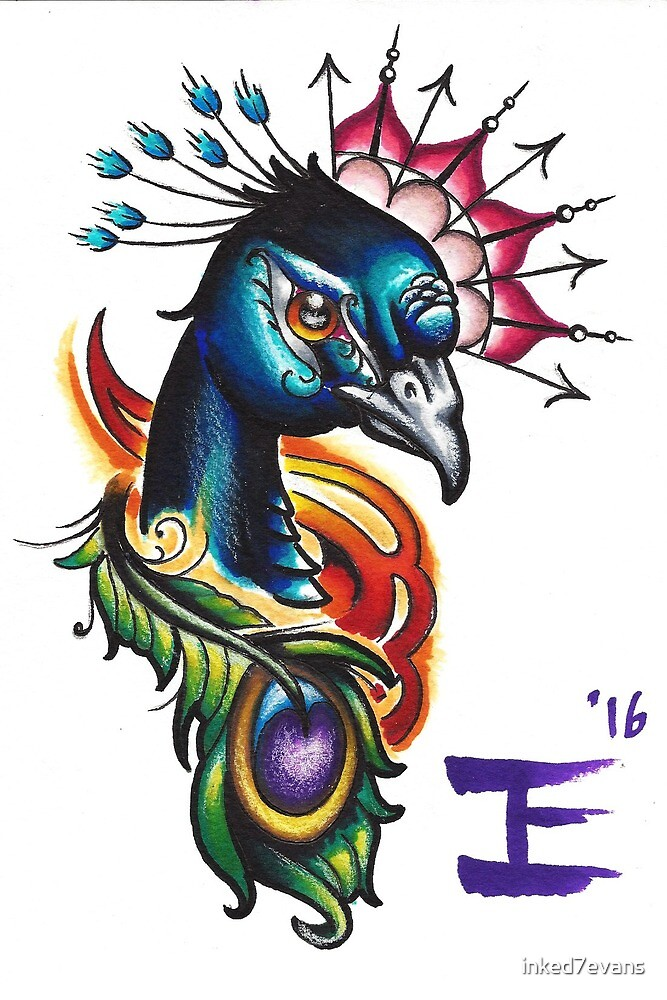Peacock head and mandala by inked7evans