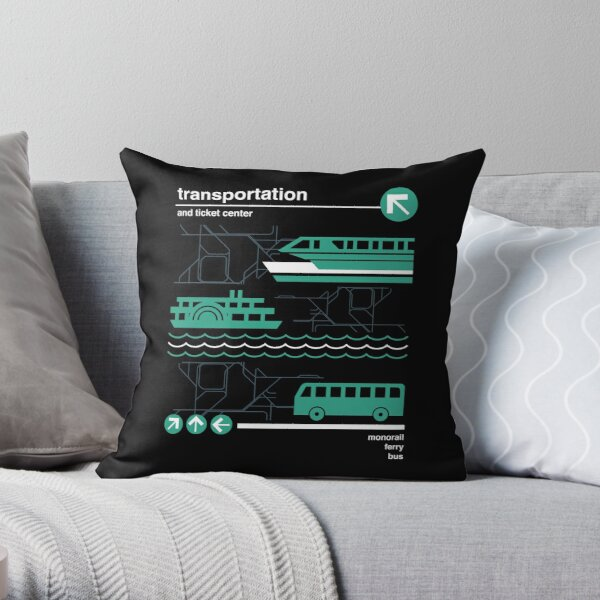 Monorail, Bus and Ferry Throw Pillow