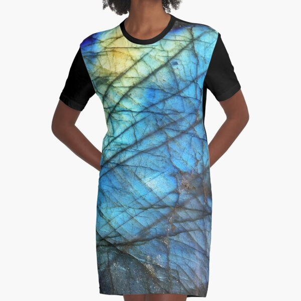 Royal Blue Labradorite Graphic T-Shirt Dress