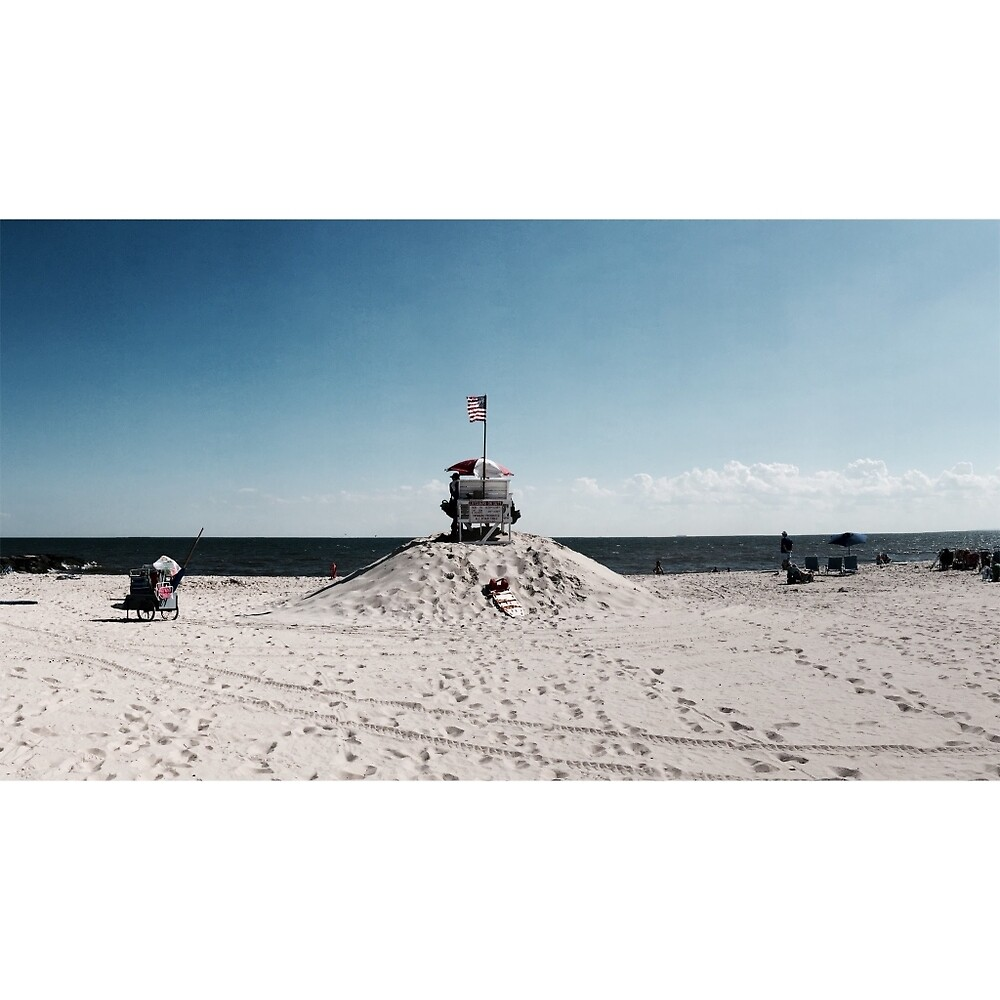 Lifeguard Stand with American Flag  by oliverkarp