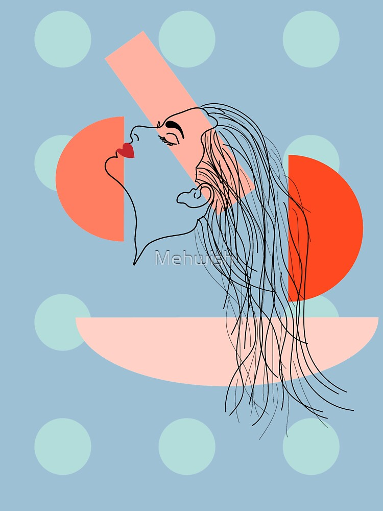 Abstract woman face line drawing minimal by Mehwish