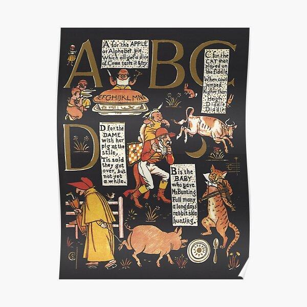 Walter Crane Alphabet Book - ABCD Poster