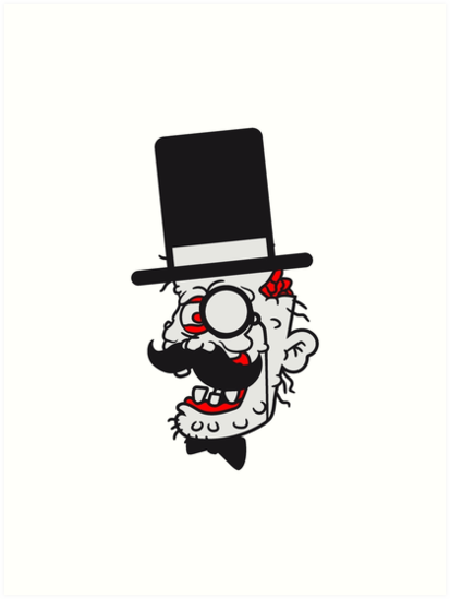 sir mr cylinder face head suit hat mustache mustache age man zombie cool disgusting running horror monster halloween comic cartoon by Motiv-Lady