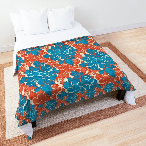 Coral and Teal Brush Damask Comforter