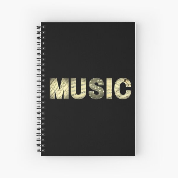 Golden music with musical notes Spiral Notebook