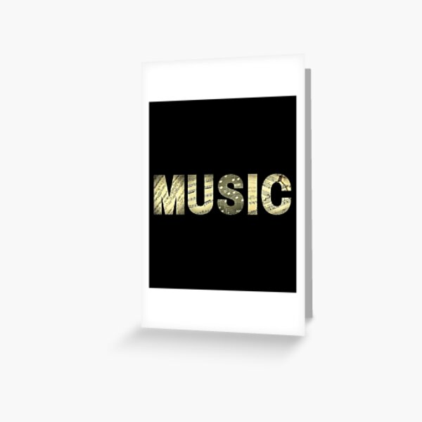 Golden music with musical notes Greeting Card