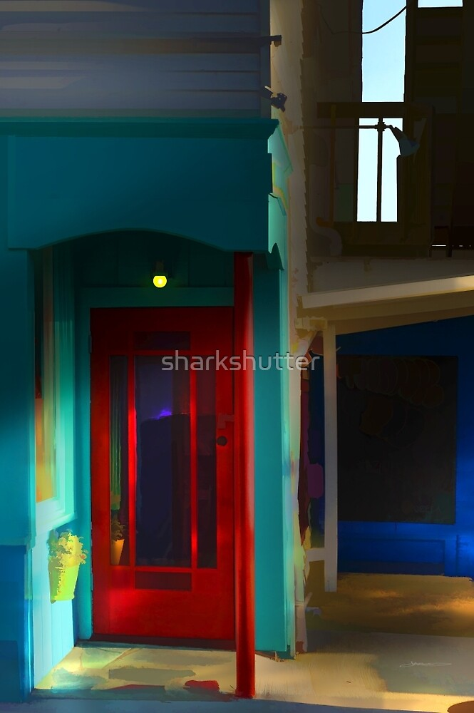 Provincetown Red & Teal, Cape Cod by sharkshutter