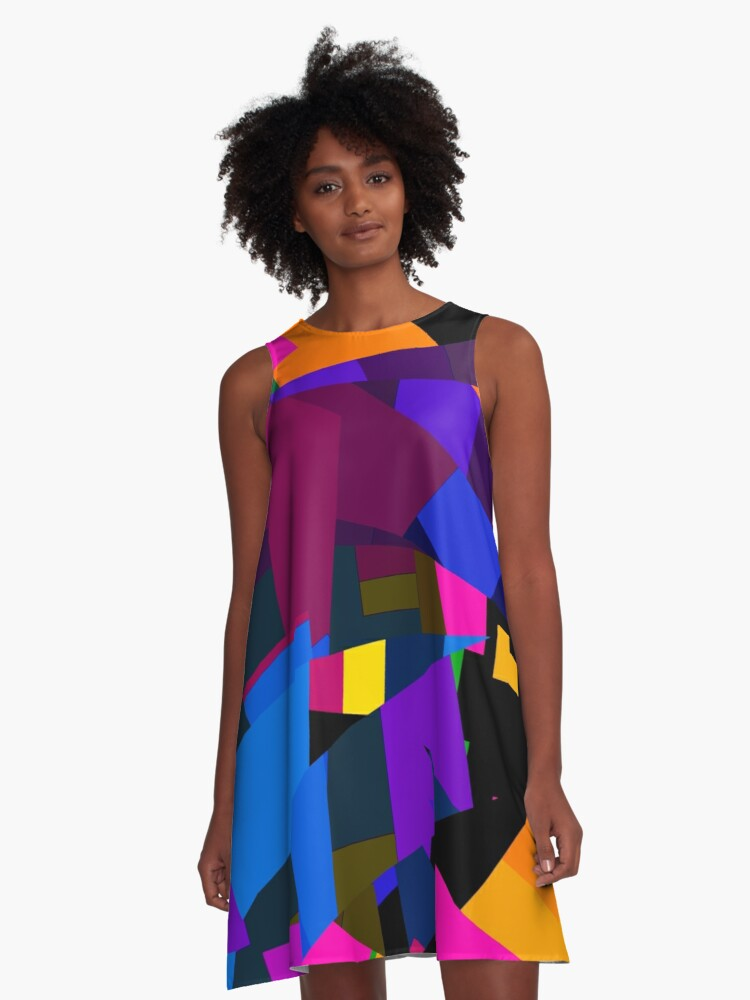 Florescent Geometric Abstract Pattern  A-Line Dress Front