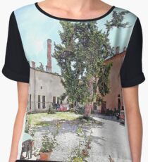 Brisighella: courtyard and building with pink facade Women's Chiffon Top