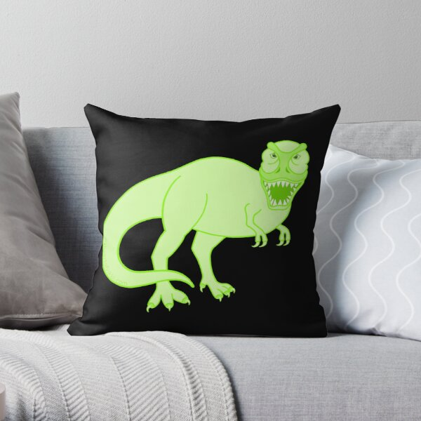 Green T Rex Dinosaur Colorful Prehistoric Animal Throw Pillow