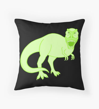 Green T Rex Dinosaur Colorful Prehistoric Animal Throw Pillow