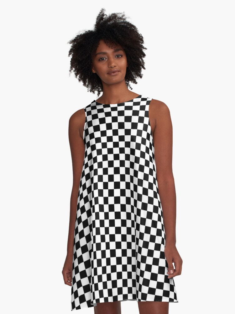checkerboard A-Line Dress Front