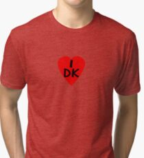 I Love Denmark Country Code DK T-Shirt & Sticker Tri-blend T-Shirt