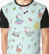 Summer Unicorn Pool Party Graphic T-Shirt