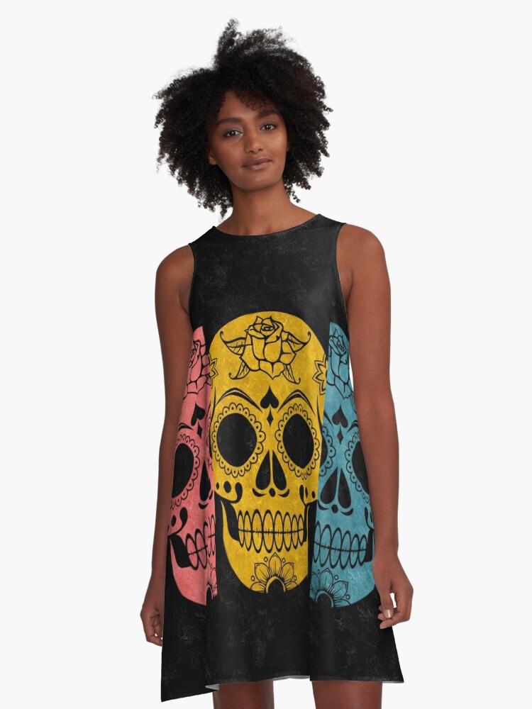 Pop Grunge Sugar Skulls A-Line Dress Front