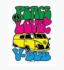 PEACE LOVE V-DUB - KOMBI Photographic Print