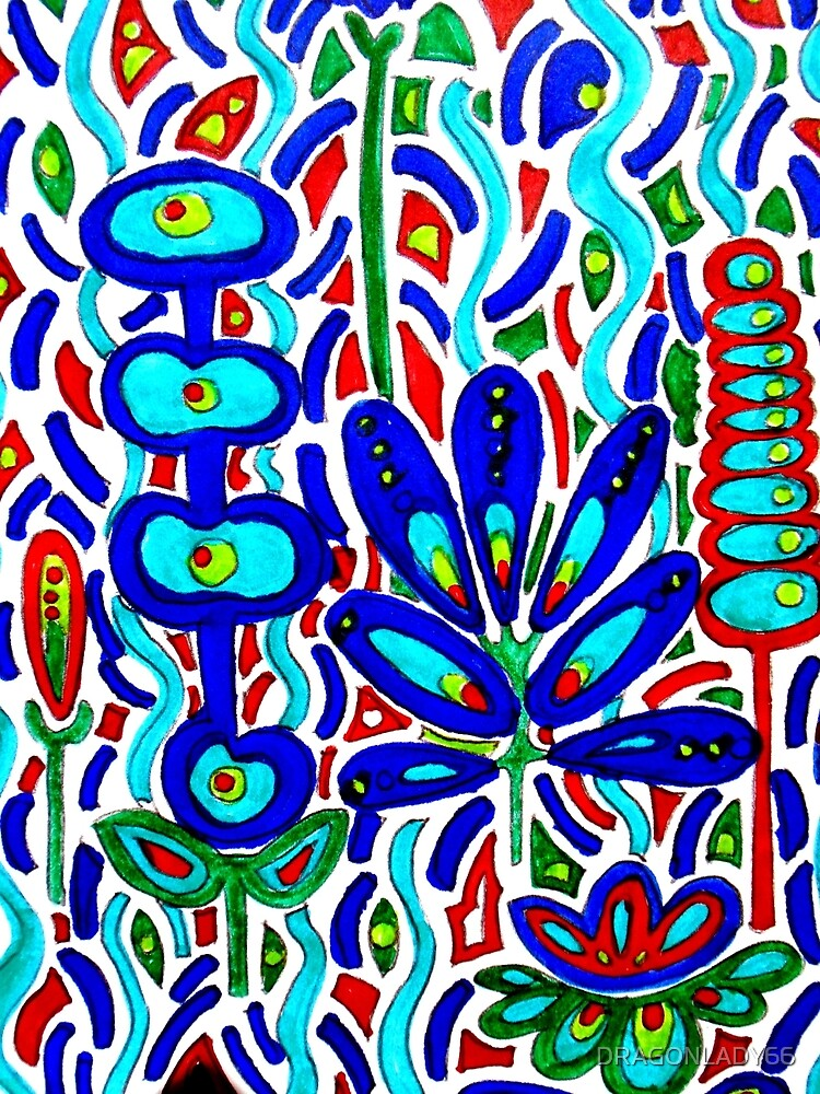 BLUE FLORAL ABSTRACT by DRAGONLADY66