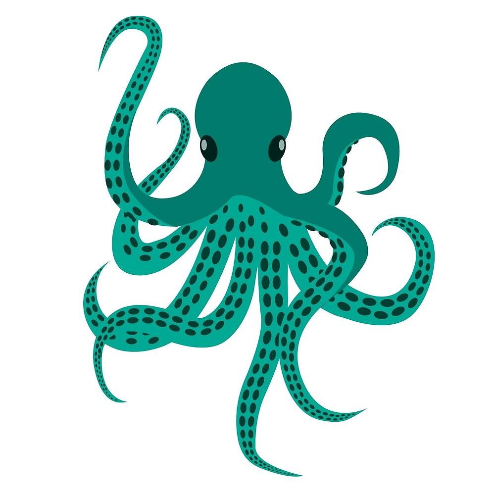 Cute Green Octopus by carocollins