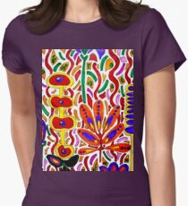 ORANGE AND YELLOW ABSTRACT FLORAL Womens Fitted T-Shirt