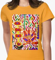 ORANGE AND YELLOW ABSTRACT FLORAL Women's Fitted T-Shirt