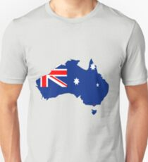 Australia Map with Australian Flag Unisex T-Shirt