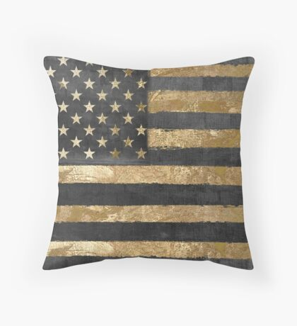 American Flag Gold and Black  Throw Pillow