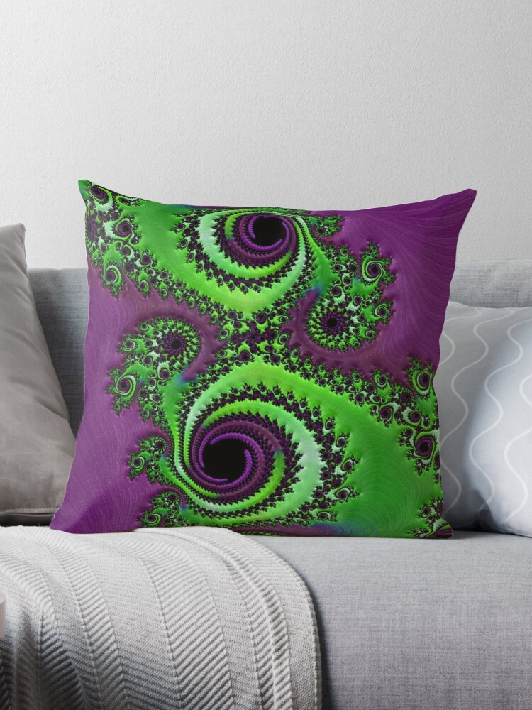 Quot Gorgeous Purple Green Fractal Quot Throw Pillows By Amy
