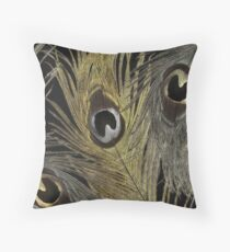 Silver and Gold Peacock Feathers Throw Pillow