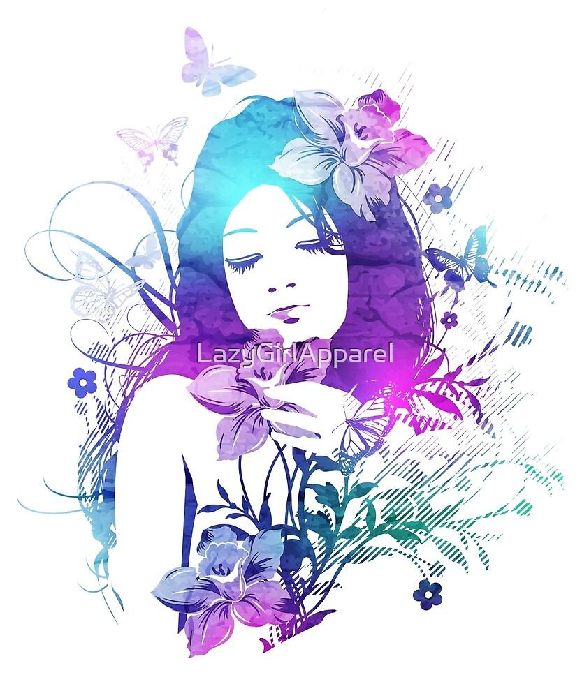 Beautiful Watercolor Girl by LazyGirlApparel