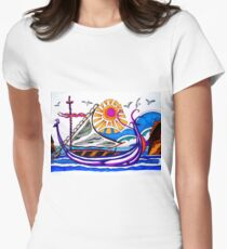 VIOLET VIKING BOAT Women's Fitted T-Shirt