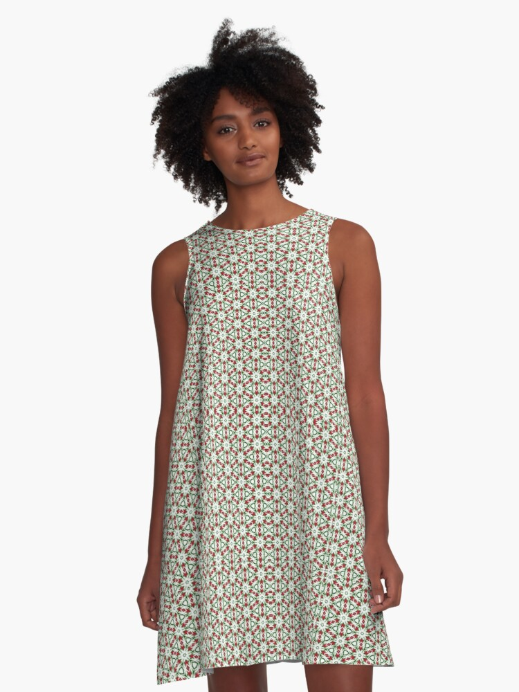 Festive Geometrics | Green Red White A-Line Dress Front